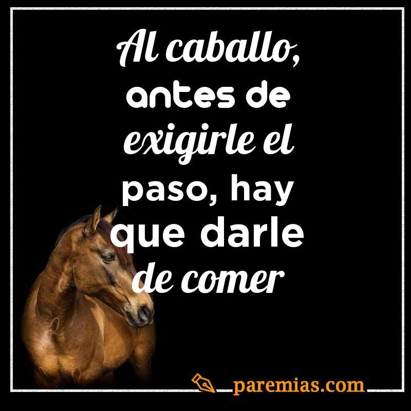 Al caballo, antes de exigirle el paso, hay que darle de comer
