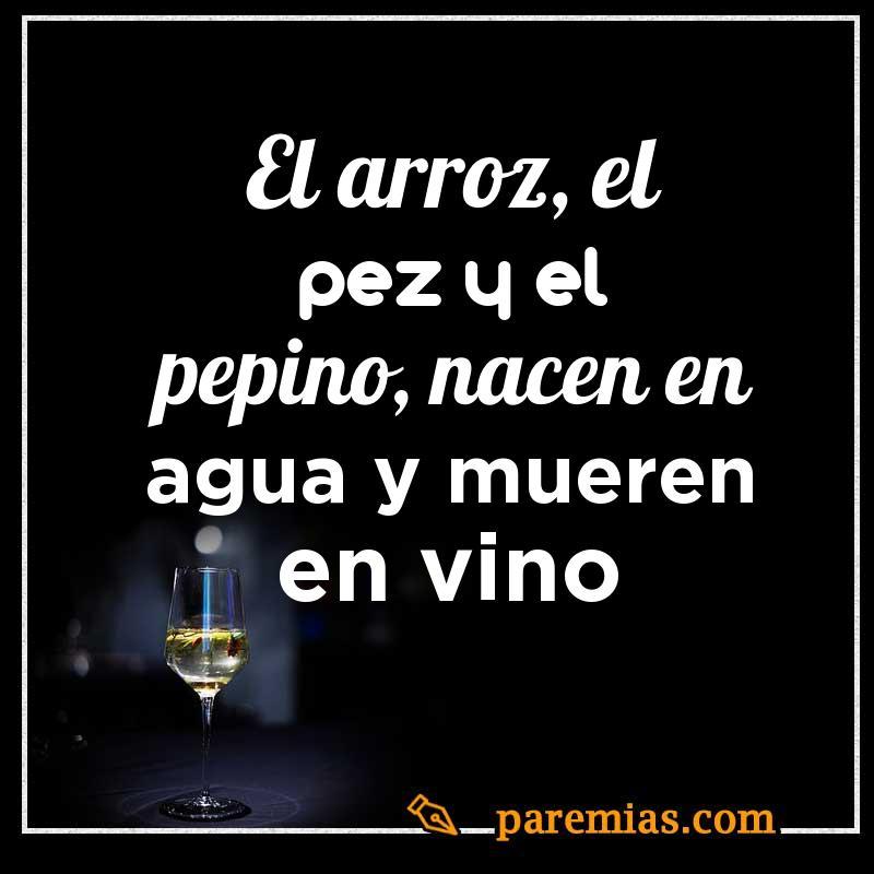 El arroz, el pez y el pepino, nacen en agua y mueren en vino